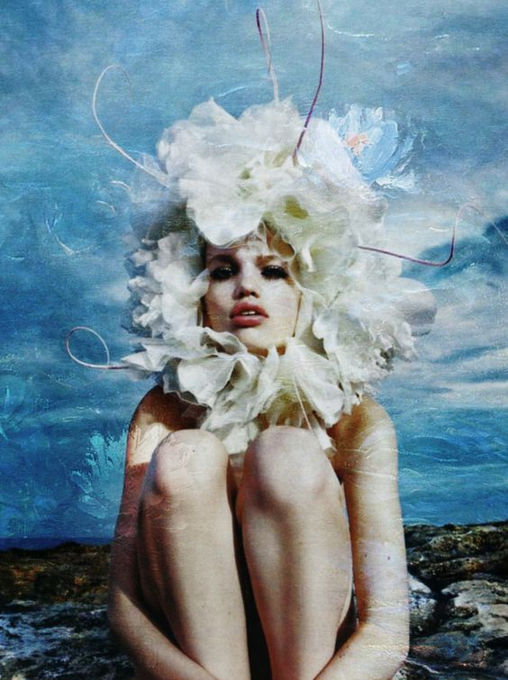 Daphne Groeneveld by M. Sorrenti for Vogue Paris x Monet's Water Lilies