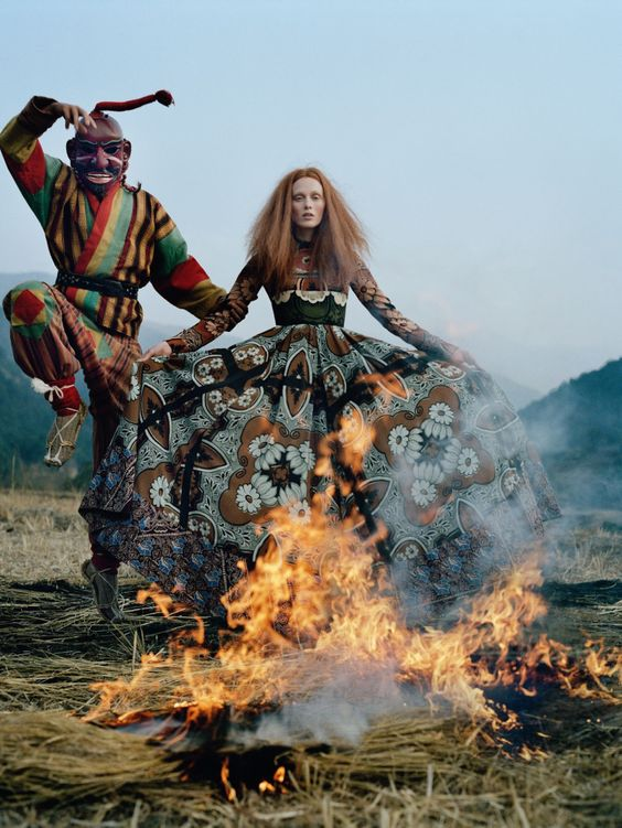 Karen Elson wears Valentino at Kingdom of Bhutan by Walker for Vogue UK, May 2015
