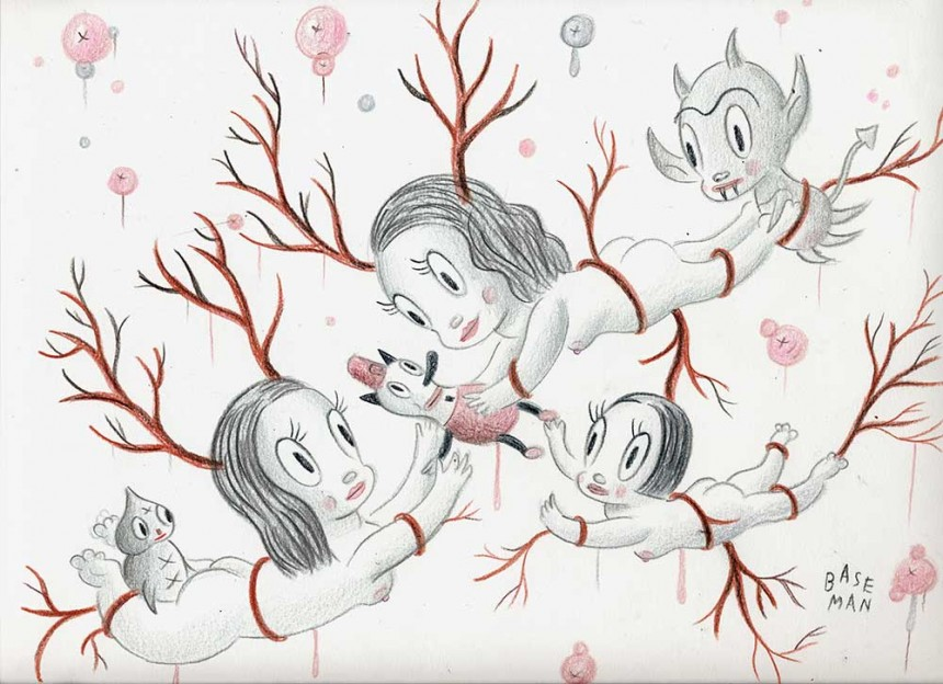 """Three Venisons and the One They Call Toby – Colored pencil on paper, 2006, 9"""" x 12″"""