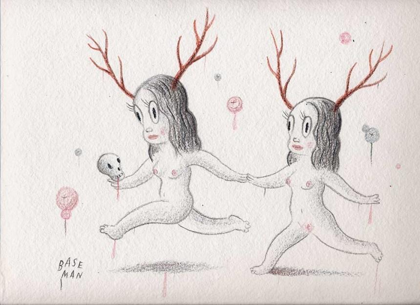 "Venison's Twins – Drawing on handmade Barcelona paper, 2006, 9.5"" x 12"""