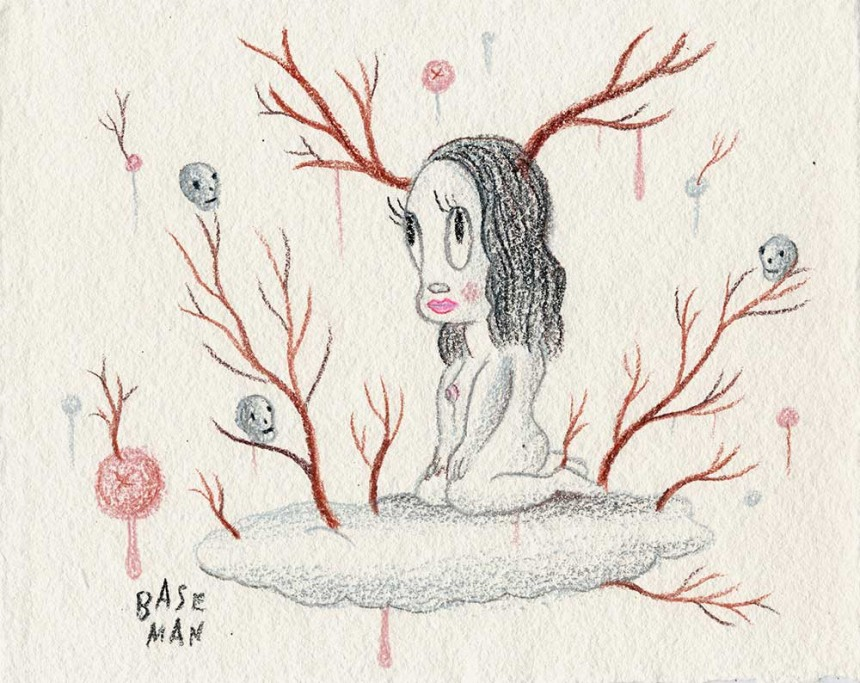 """Venison in the Sky - Drawing on handmade Barcelona paper, 2006, 7"""" x 9"""""""